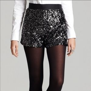 French Connection Black Sequin Shorts Size 10